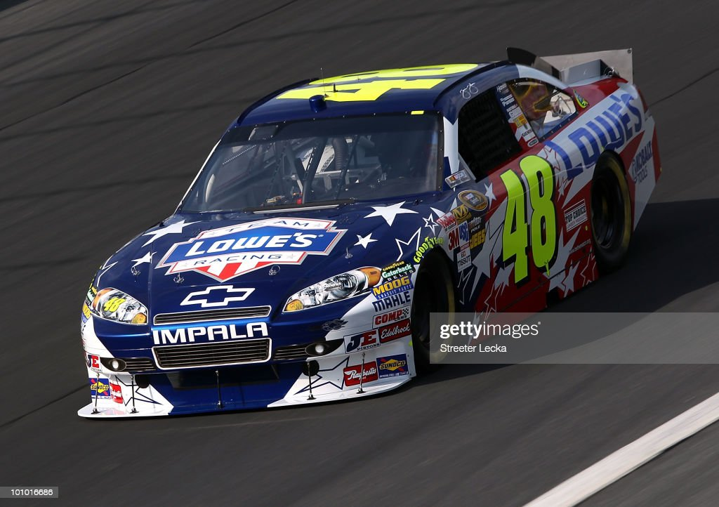 Jimmie Johnson drives the #48 Lowe's Memorial Day Tribute Chevrolet during practice for the NASCAR Sprint Cup Series Coca-Cola 600 at Charlotte Motor Speedway on May 27, 2010 in Concord, North Carolina.