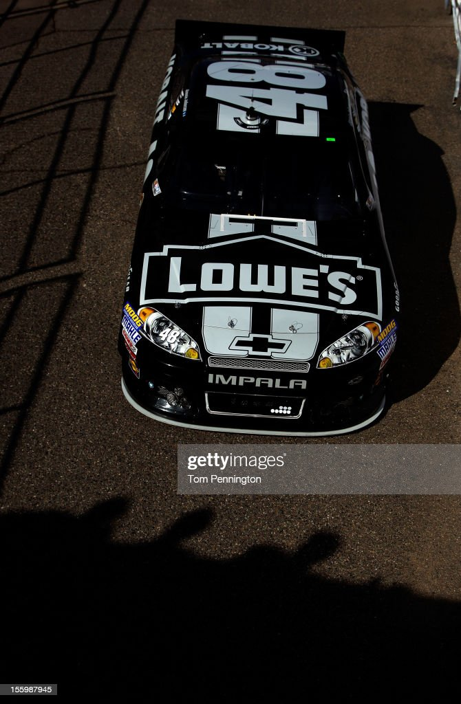 <a gi-track='captionPersonalityLinkClicked' href=/galleries/search?phrase=Jimmie+Johnson+-+Nascar+Race+Driver&family=editorial&specificpeople=171519 ng-click='$event.stopPropagation()'>Jimmie Johnson</a> drives the #48 Lowe's/Kobalt Tools Chevrolet during practice for the NASCAR Sprint Cup Series AdvoCare 500 at Phoenix International Raceway on November 10, 2012 in Avondale, Arizona.