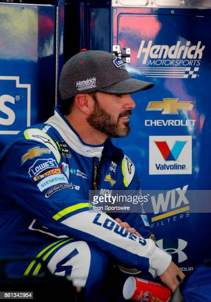 Jimmie Johnson Hendrick Motorsports Lowe's Chevrolet SS during practice for the Alabama 500 on October 13 2017 at Talladega Superspeedway in...