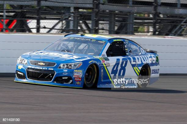 Jimmie Johnson Lowes Hendrick Motorsports Chevrolet SS during the NASCAR Monster Energy Cup Series Brantley Gilbert Big Machine Brickyard 400 July 23...