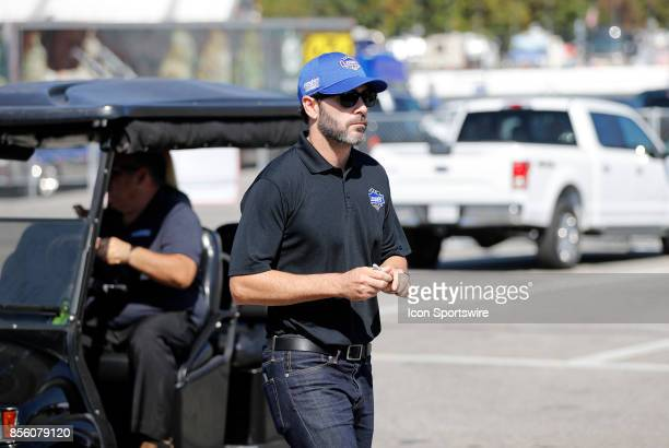 Jimmie Johnson Monster Energy NASCAR Cup Series driver of the Lowe's Chevrolet arrives for the driver's meeting during the Monster Energy Cup Series...