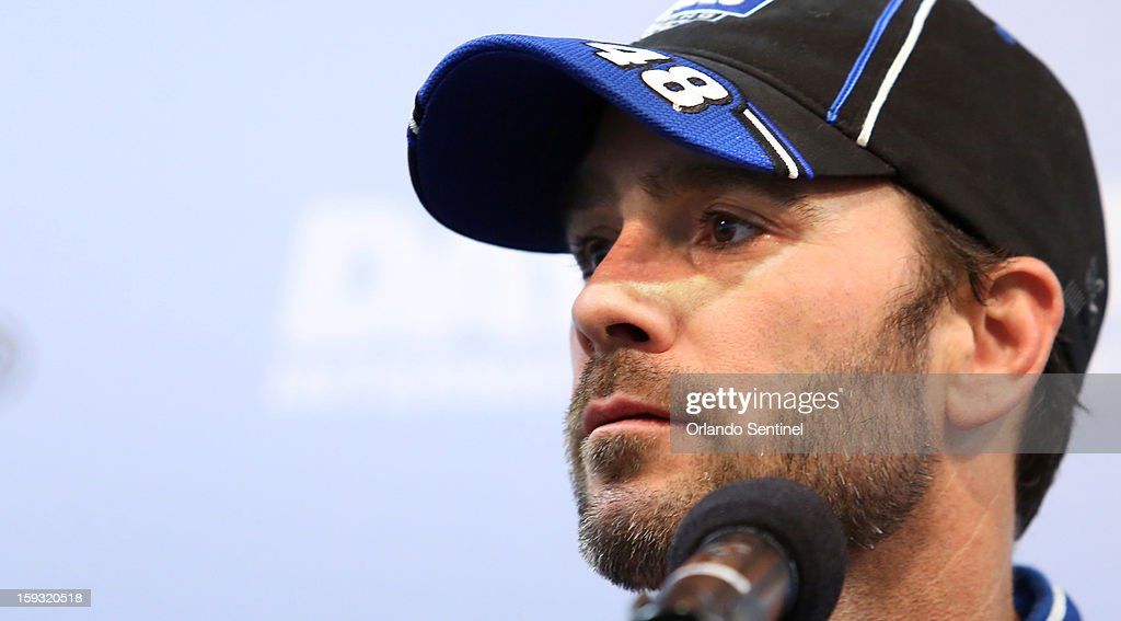 Jimmie Johnson talks to media at Daytona International Speedway in Daytona Beach, Florida, Friday, January 11, 2013.