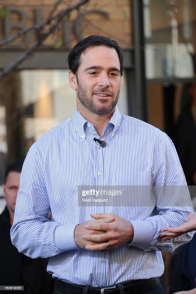 <a gi-track='captionPersonalityLinkClicked' href=/galleries/search?phrase=Jimmie+Johnson+-+Nascar-Pilot&family=editorial&specificpeople=171519 ng-click='$event.stopPropagation()'>Jimmie Johnson</a> visits Extra at The Grove on February 27, 2013 in Los Angeles, California.