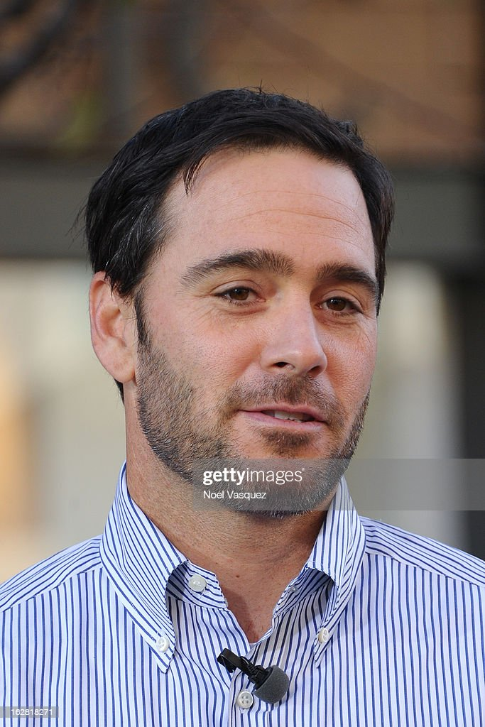 Jimmie Johnson visits Extra at The Grove on February 27, 2013 in Los Angeles, California.