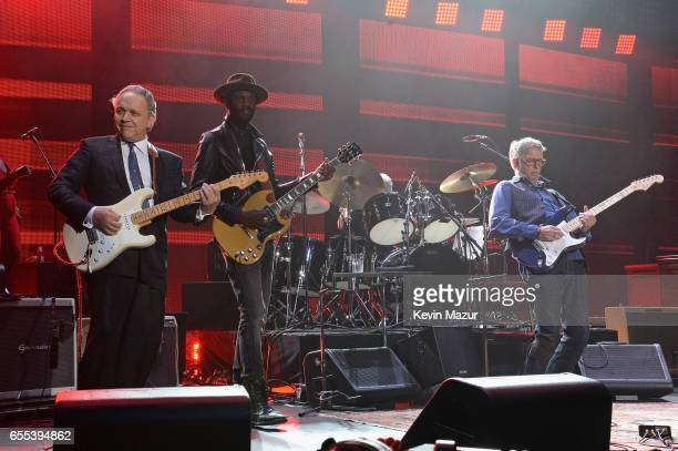 Jimmie Vaughan and Gary Clark Jr perform onstage with Eric Clapton His Band at Madison Square Garden on March 19 2017 in New York City