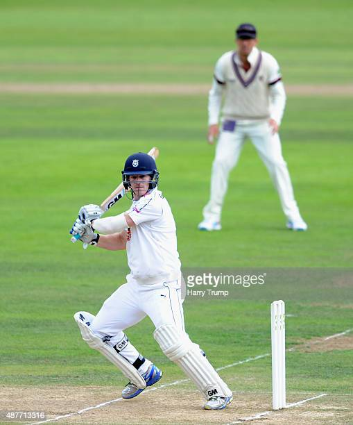 Jimmy Adams of Hampshire cuts during the LV County Championship match between Somerset and Hampshire at The County Ground on September 11 2015 in...