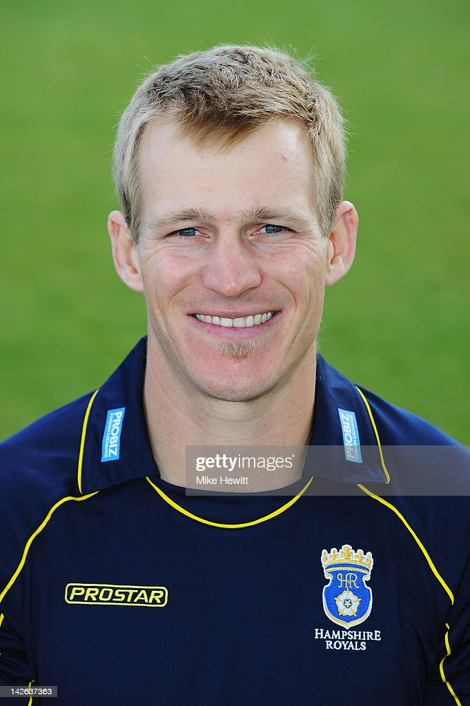 Jimmy Adams of Hampshire poses for a portrait in CB40 kit during the Hampshire CCC Photocall at the Rosebowl on April 10, 2012 in Southampton, England.