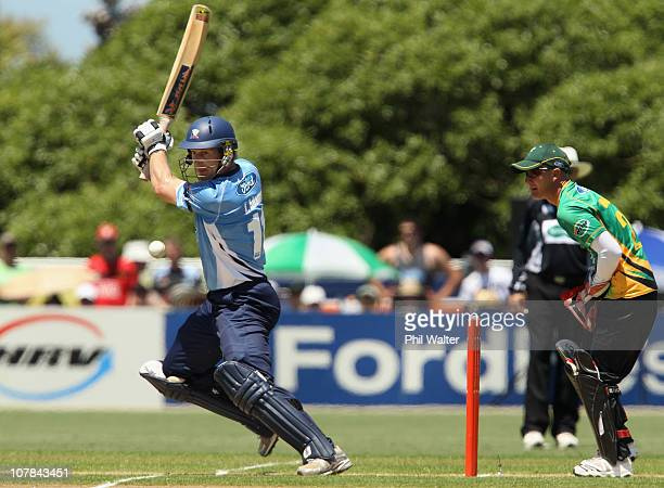 Jimmy Adams of the Aces bats during the final of the HRV Cup Twenty20 match between the Auckland Aces and the Central Stags at Colin Maiden Park on...