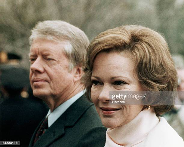 Jimmy and Rosalynn Carter at the arrival of Deng Xiaoping Deputy Premier of China in Washington DC January 29 1979
