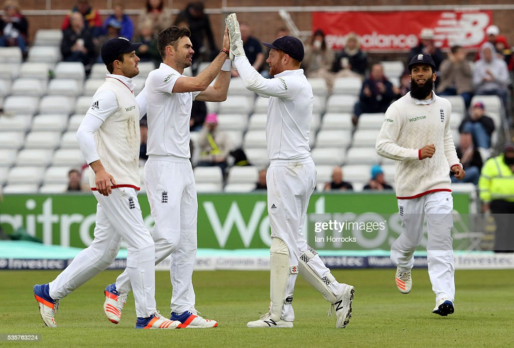 Jimmy Anderson (2ndR) celebrates taking the wicket of Milinda Siriwardana during day four of the 2nd Investec Test match between England and Sri Lanka at Emirates Durham ICG on May 30, 2016 in Chester-le-Street, United Kingdom.
