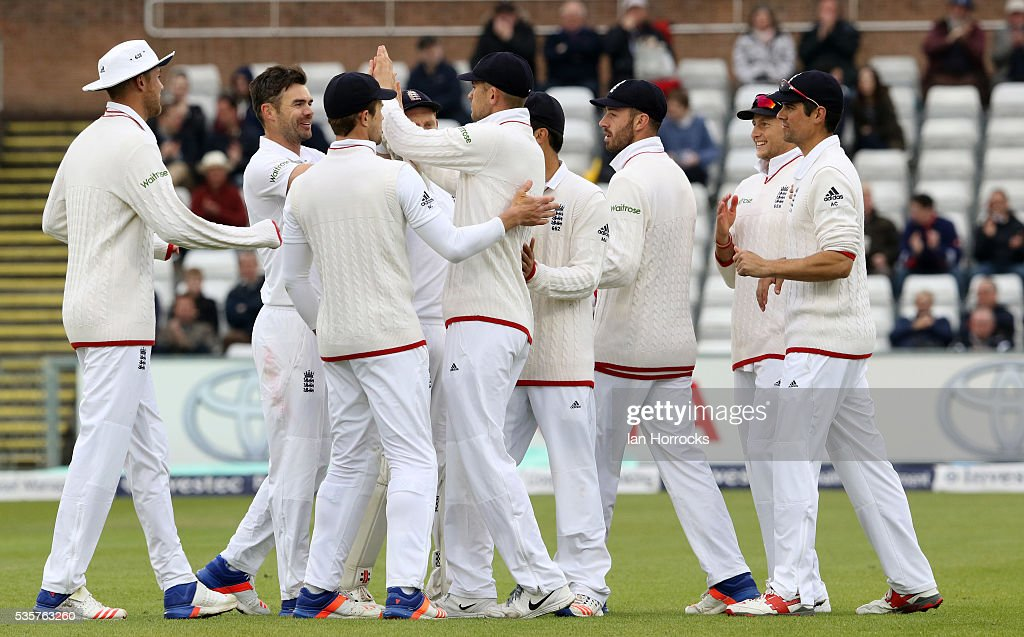 Jimmy Anderson celebrates taking the wicket of Milinda Siriwardana during day four of the 2nd Investec Test match between England and Sri Lanka at Emirates Durham ICG on May 30, 2016 in Chester-le-Street, United Kingdom.
