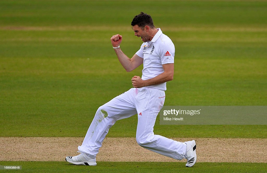 Jimmy Anderson of England celebrates after trapping Ross Taylor of New Zealand lbw during day two of 1st Investec Test match between England and New Zealand at Lord's Cricket Ground on May 17, 2013 in London, England.