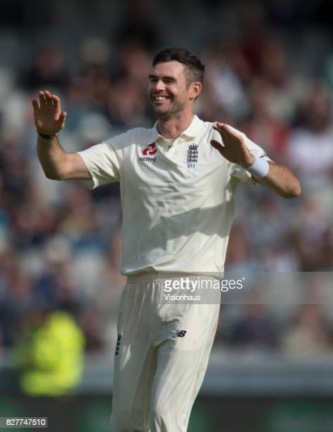 Jimmy Anderson of England celebrates taking the wicket of Faf du Plessis of South Africa during the fourth day of the fourth test at Old Trafford on...