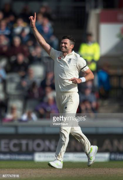 Jimmy Anderson of England celebrates taking the wicket of Kagiso Rabada during the fourth day of the fourth test at Old Trafford on August 7 2017 in...