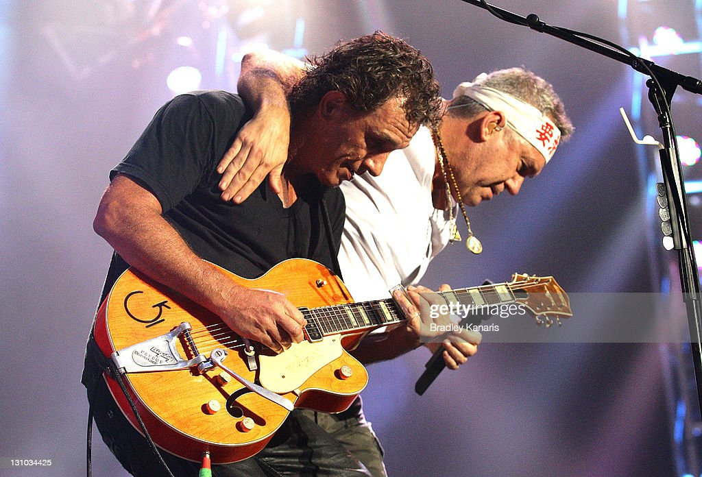 Jimmy Barnes and Ian Moss of Cold Chisel perform on stage at the Brisbane Entertainment Centre on November 1 2011 in Brisbane Australia