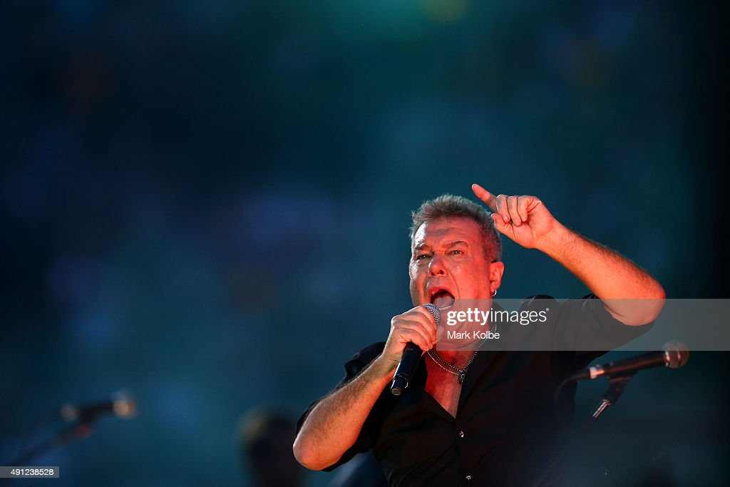 Jimmy Barnes of Cold Chisel performs ahead of the 2015 NRL Grand Final match between the Brisbane Broncos and the North Queensland Cowboys at ANZ...