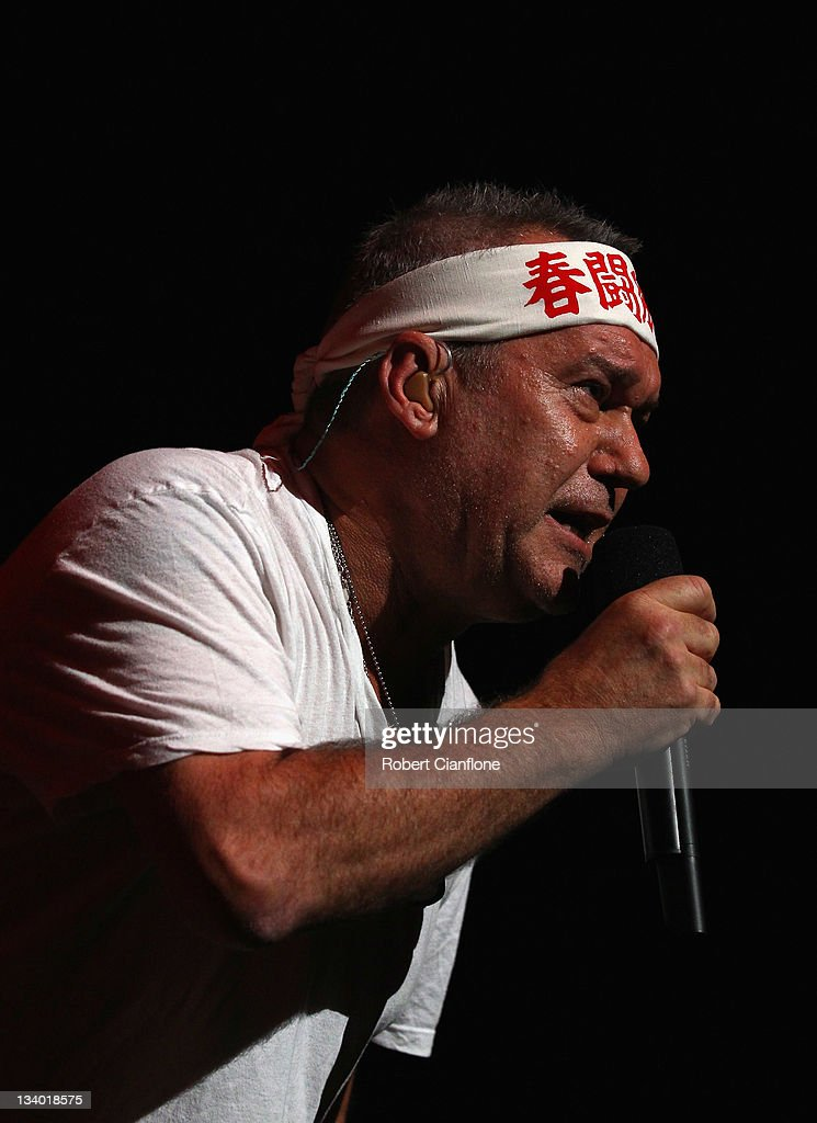 Jimmy Barnes of Cold Chisel performs on stage at Rod Laver Arena on November 24 2011 in Melbourne Australia