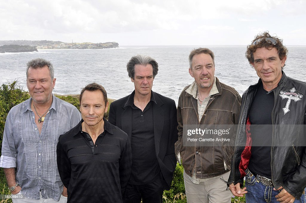 Jimmy Barnes Phil Small Don Walker Steve Prestwich and Ian Moss of the band 'Cold Chisel' attend a press conference at Clovelly Bowling Club to...