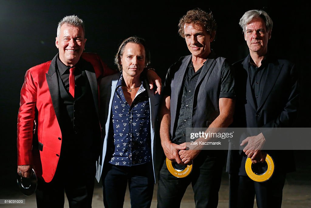Jimmy Barnes Phil Small Ian Moss and Don Walker of Cold Chisel pose after Winning The Ted Albert Award for Outstanding Services to Australian Music...