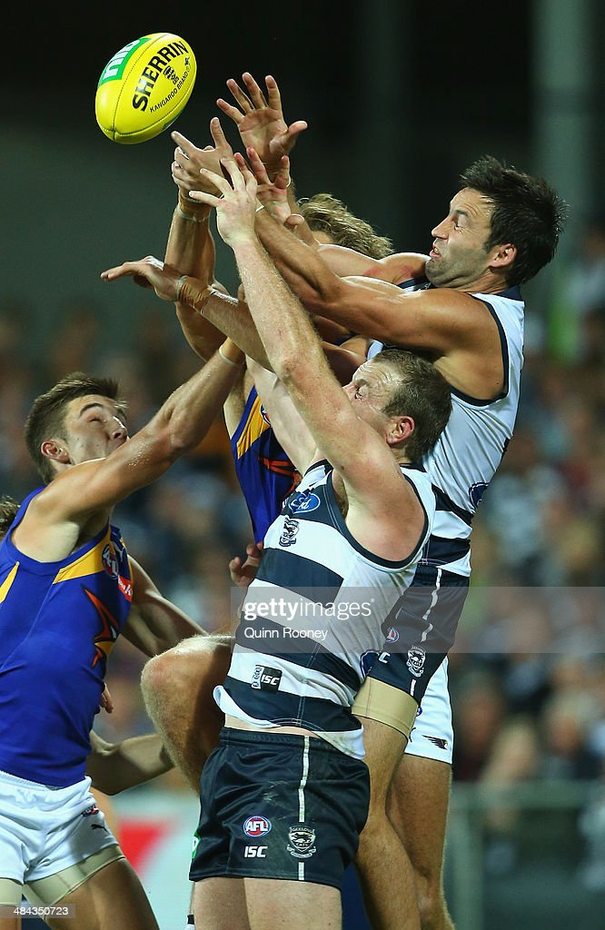 Jimmy Bartel of the Cats flies for a mark during the round four AFL match between the Geelong Cats and the West Coast Eagles at Skilled Stadium on April 12, 2014 in Melbourne, Australia.