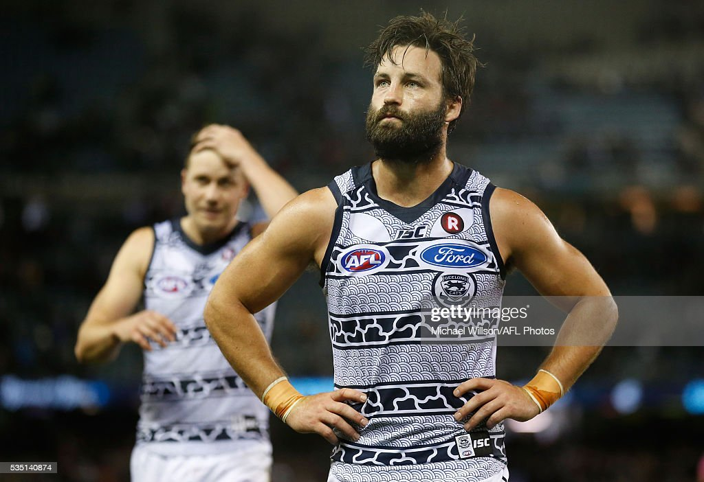 Jimmy Bartel of the Cats looks dejected after a loss during the 2016 AFL Round 10 match between the Carlton Blues and the Geelong Cats at Etihad Stadium on May 29, 2016 in Melbourne, Australia.