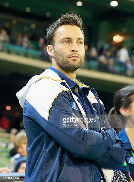 Jimmy Bartel of the Cats looks on from the sidelines during the round six AFL match between the Collingwood Magpies and the Geelong Cats at Melbourne...