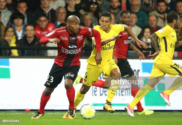 Jimmy Briand of Guingamp Marquinhos of PSG during the French Ligue 1 match between En Avant Guingamp and Paris Saint Germain at Stade de Roudourou on...