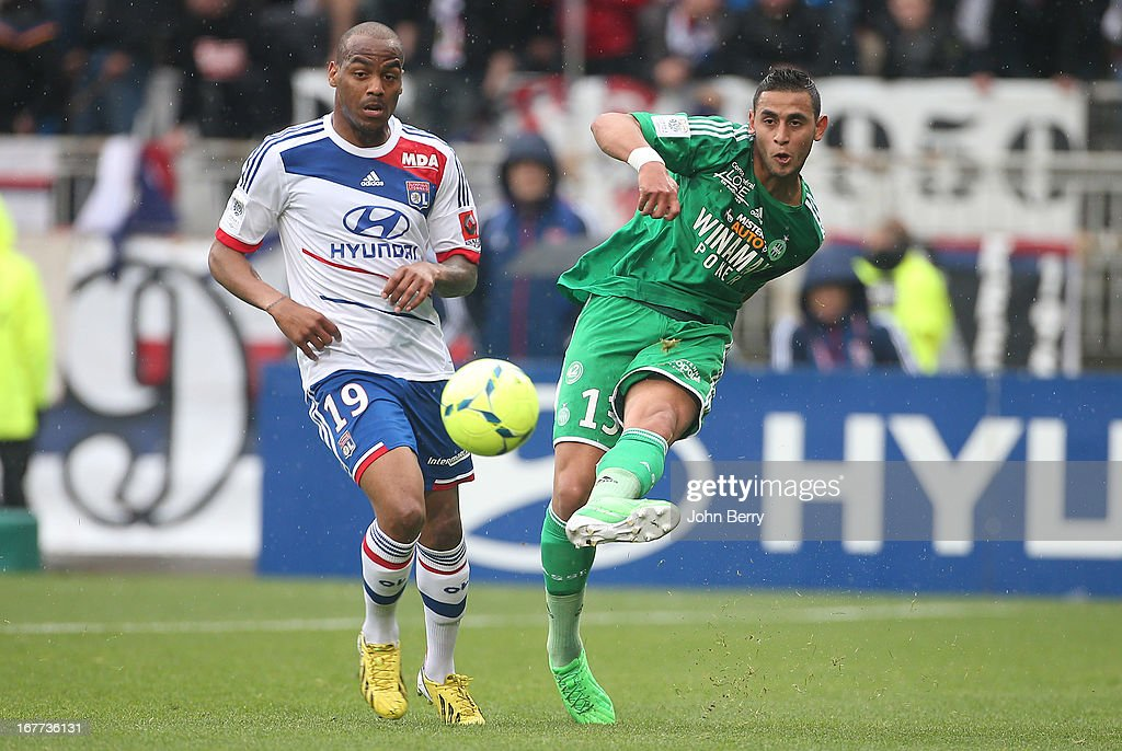 <a gi-track='captionPersonalityLinkClicked' href=/galleries/search?phrase=Jimmy+Briand&family=editorial&specificpeople=620315 ng-click='$event.stopPropagation()'>Jimmy Briand</a> of Lyon and Faouzi Ghoulam of Saint-Etienne in action during the Ligue 1 match between Olympique Lyonnais, OL, and AS Saint-Etienne, ASSE, at the Stade Gerland on April 28, 2013 in Lyon, France.