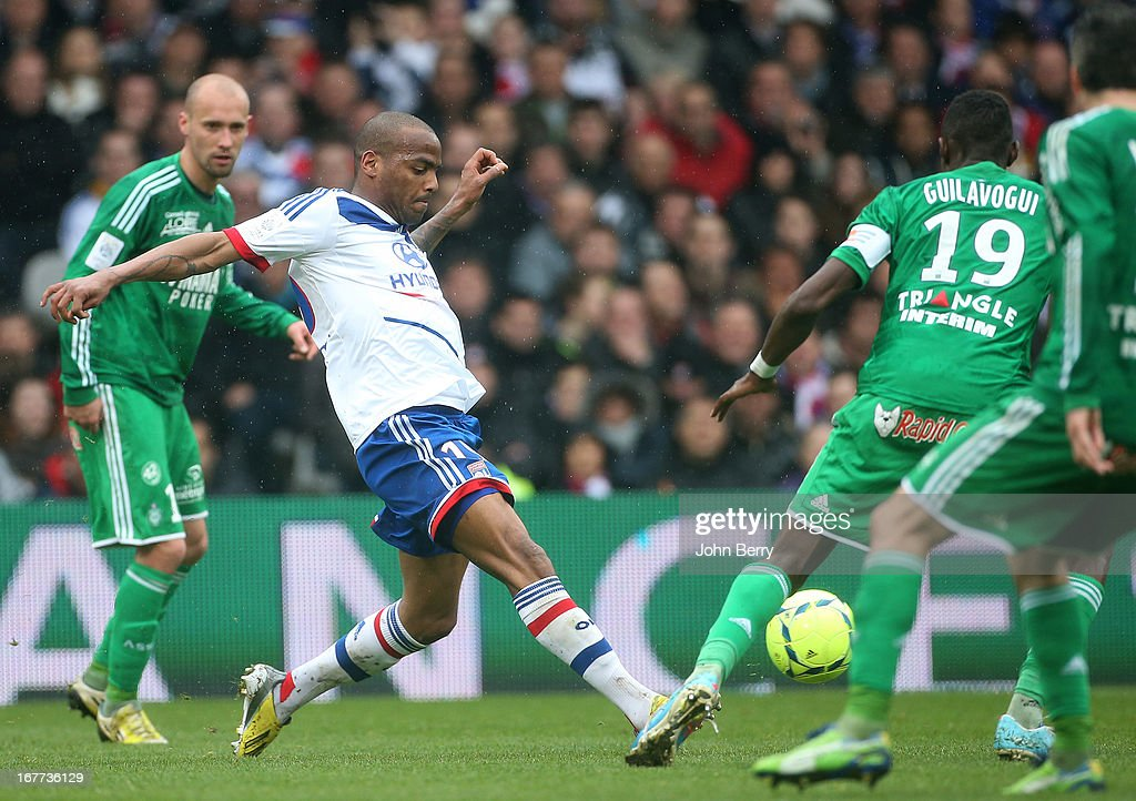 <a gi-track='captionPersonalityLinkClicked' href=/galleries/search?phrase=Jimmy+Briand&family=editorial&specificpeople=620315 ng-click='$event.stopPropagation()'>Jimmy Briand</a> of Lyon in action during the Ligue 1 match between Olympique Lyonnais, OL, and AS Saint-Etienne, ASSE, at the Stade Gerland on April 28, 2013 in Lyon, France.