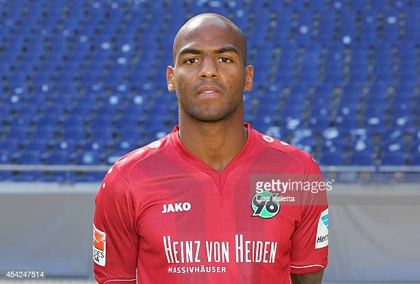 Jimmy Briand poses during the team presentation of Hannover 96 at HDIArena on August 27 2014 in Hanover Germany