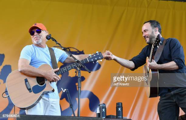 Jimmy Buffet and Dave Matthews perform onstage during day 5 of the 2017 New Orleans Jazz Heritage Festival at Fair Grounds Race Course on May 5 2017...
