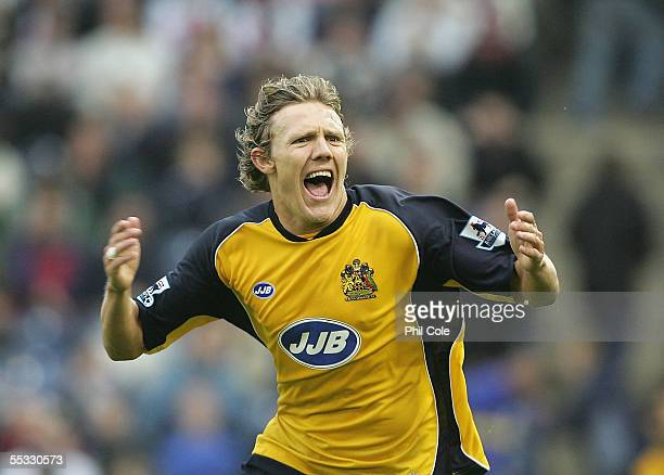 Jimmy Bullard of Wigan Athletic celabrates scoring the winner for Wigan during the Barclays Premiership match between West Bromwhich Albion and Wigan...
