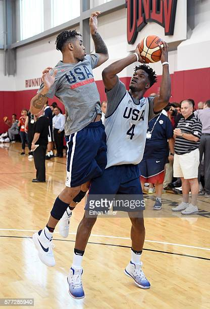 Jimmy Butler of the 2016 USA Basketball Men's National Team shoots against D'Angelo Russell of the 2016 USA Basketball Select Team during a practice...