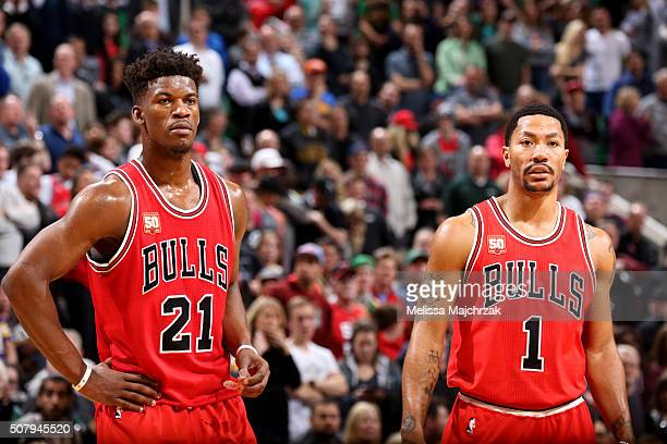 Jimmy Butler and Derrick Rose of the Chicago Bulls looks on during the game against the Utah Jazz on February 1 2016 at EnergySolutions Arena in Salt...