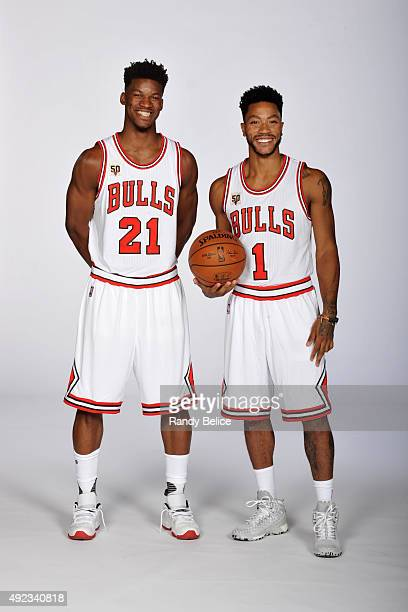 Jimmy Butler and Derrick Rose of the Chicago Bulls poses for a portrait during Media Day on September 28 2015 at the Advocate Center in Chicago...