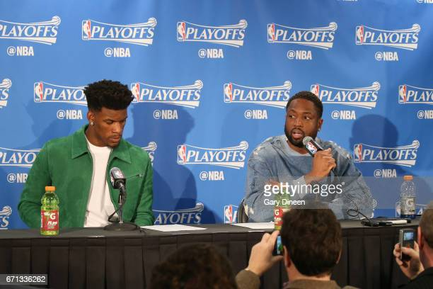 Jimmy Butler and Dwyane Wade of the Chicago Bulls speak during the postgame press conference after the game against the Boston Celtics during Game...