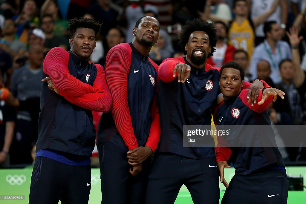 Jimmy Butler Kevin Durant DeAndre Jordan and Kyle Lowry of United States stand on the podium after defeating Serbia in the Men's Gold medal game on...