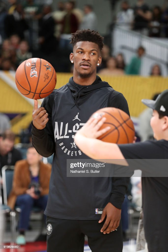 Jimmy Butler #23 of Team Stephen participates in the NBA All-Star practice as part of the 2018 NBA All-Star Weekend on February 17, 2018 at the Verizon Up Arena at the LACC in Los Angeles, California.