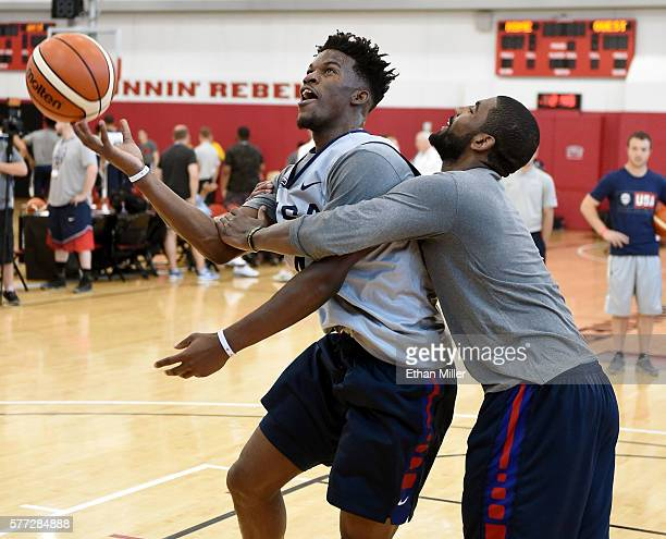 Jimmy Butler of the 2016 USA Basketball Men's National Team is intentionally fouled by Kyrie Irving of the 2016 USA Basketball Men's National Team as...