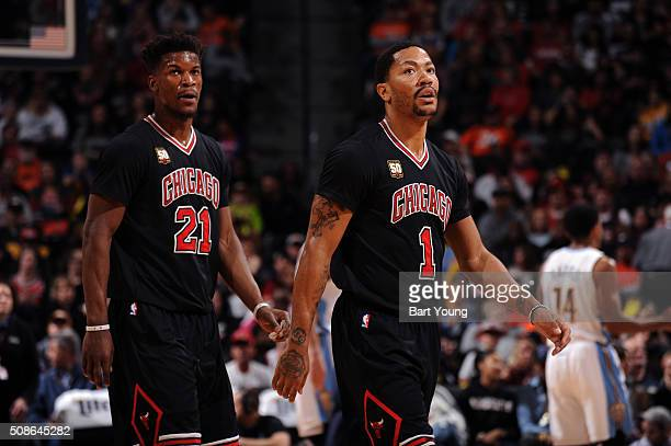 Jimmy Butler of the Chicago Bulls and Derrick Rose of the Chicago Bulls during the game against the Denver Nuggets on February 5 2016 at the Pepsi...