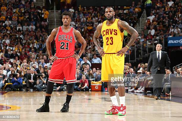 Jimmy Butler of the Chicago Bulls and LeBron James of the Cleveland Cavaliers in Game Five of the Eastern Conference Semifinals of the NBA Playoffs...