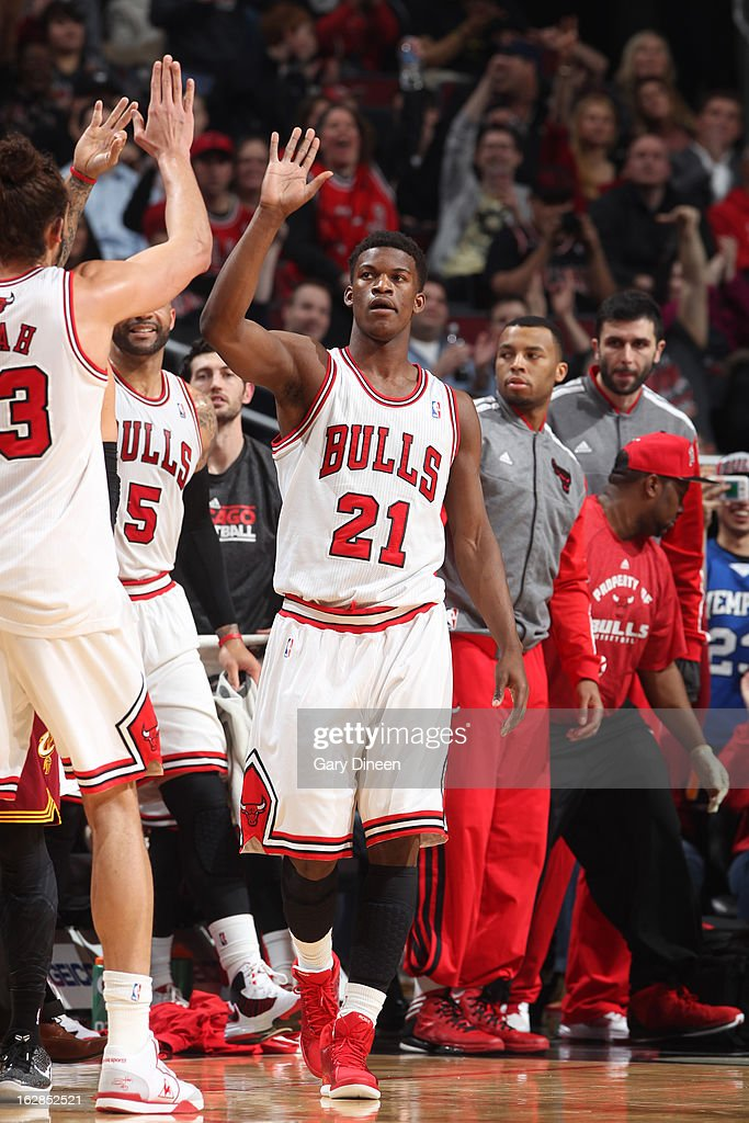<a gi-track='captionPersonalityLinkClicked' href=/galleries/search?phrase=Jimmy+Butler+-+Basketball+Player&family=editorial&specificpeople=9860567 ng-click='$event.stopPropagation()'>Jimmy Butler</a> #21 of the Chicago Bulls celebrates a shot against the Cleveland Cavaliers on February 26, 2012 at the United Center in Chicago, Illinois.