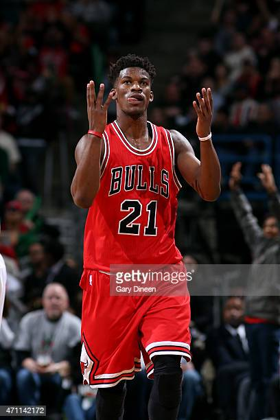 Jimmy Butler of the Chicago Bulls celebrates during a game against the Milwaukee Bucks in Game Four of the Eastern Conference Quarterfinals during...