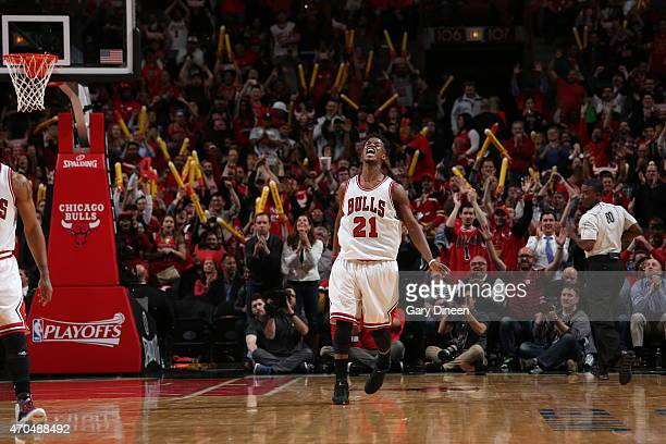 Jimmy Butler of the Chicago Bulls celebrates in Game Two of the Eastern Conference Quarterfinals against the Milwaukee Bucks during the NBA Playoffs...