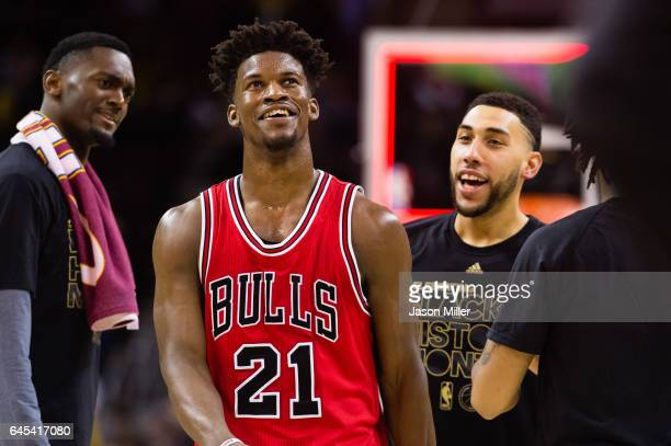 Jimmy Butler of the Chicago Bulls celebrates with teammates after the Bulls defeated the Cleveland Cavaliers at Quicken Loans Arena on February 25...