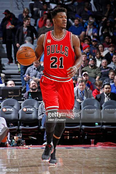 Jimmy Butler of the Chicago Bulls dribbles the ball against the Detroit Pistons on January 18 2016 at The Palace of Auburn Hills in Auburn Hills...