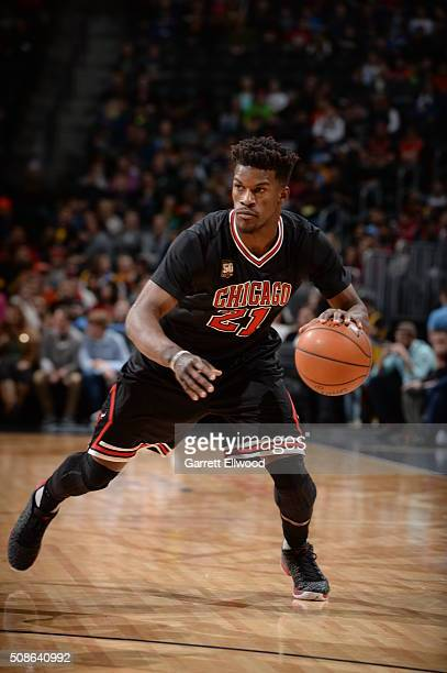 Jimmy Butler of the Chicago Bulls dribbles the ball against the Denver Nuggets on February 5 2016 at the Pepsi Center in Denver Colorado NOTE TO USER...