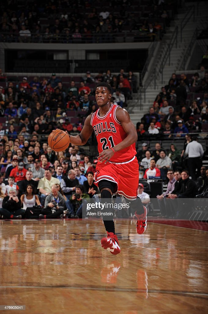 <a gi-track='captionPersonalityLinkClicked' href=/galleries/search?phrase=Jimmy+Butler+-+Basketball+Player&family=editorial&specificpeople=9860567 ng-click='$event.stopPropagation()'>Jimmy Butler</a> #21 of the Chicago Bulls dribbles up the court against the Detroit Pistons during the game on March 5, 2014 at The Palace of Auburn Hills in Auburn Hills, Michigan.
