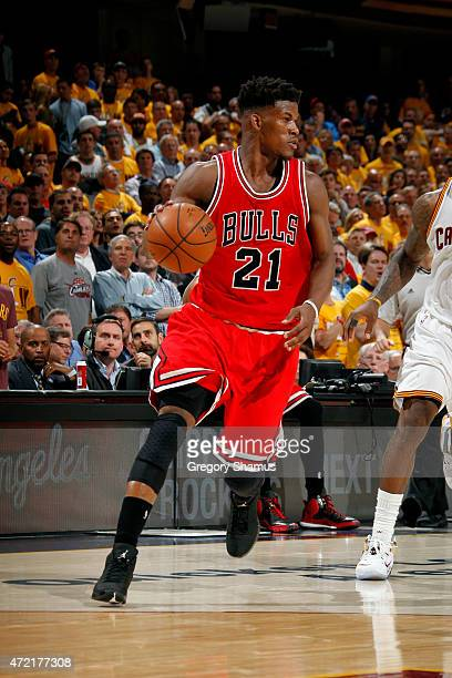 Jimmy Butler of the Chicago Bulls drives against the Cleveland Cavaliers in Game One of the Eastern Conference Semifinals of the NBA Playoffs at The...