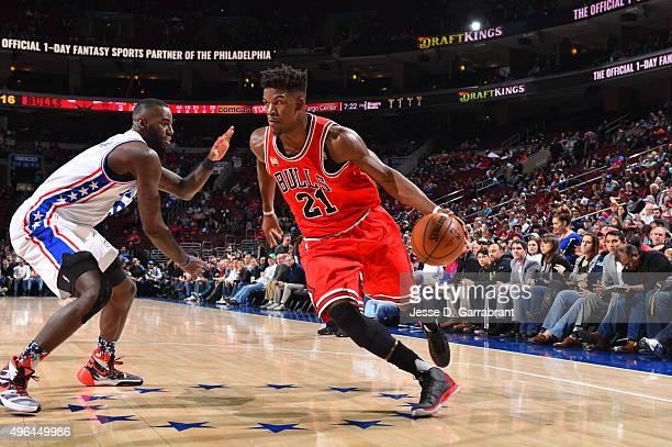 Jimmy Butler of the Chicago Bulls drives baseline against the Philadelphia 76ers at Wells Fargo Center on November 9 2015 in Philadelphia...